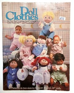 """Vintage 1982 Doll Clothes Pattern Book Cabbage Patch Thumbelina 18"""" & 24"""" Dolls"""