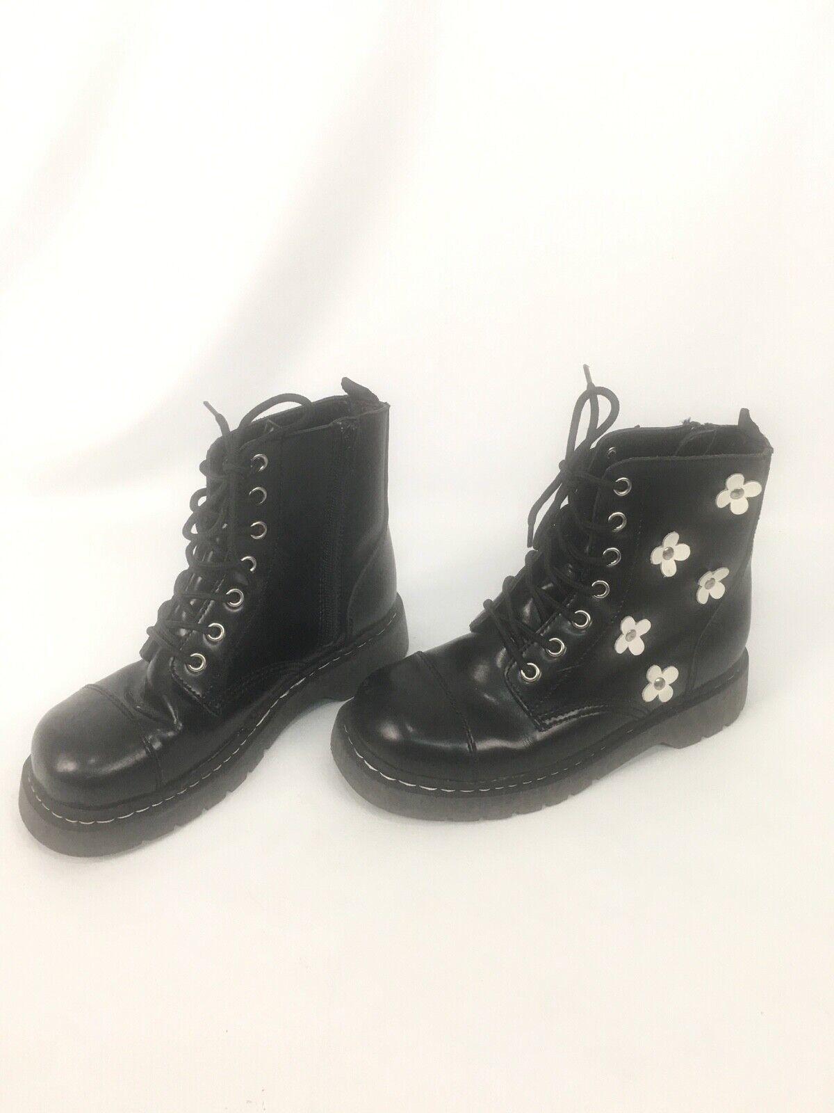T.U.K. anárquico Original Calzado Para Mujer Flor bota De Combate De Cuero Negro Como Nuevo