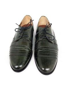 classic style luxury get new Details about STRACAM Green Leather Lace Up Oxford Dress Shoes Handcrafted  in Italy Sz 8.5M
