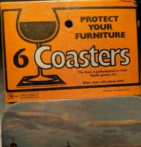 Vintage-Souvenir-Mexico-Coasters-Barware-Cocktail-6-Piece-Cardboard-unopened
