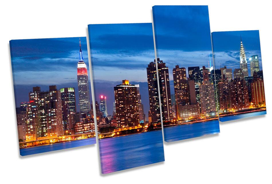 MANHATTAN MANHATTAN MANHATTAN NEW YORK CITY NOTTE SKYLINE MULTI CANVAS WALL ART PICTURE PRINT c26aac