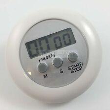 LCD Digital Kurzzeitmesser Eieruhr Küchenuhr Countdown + Clip Rund (Weiß)