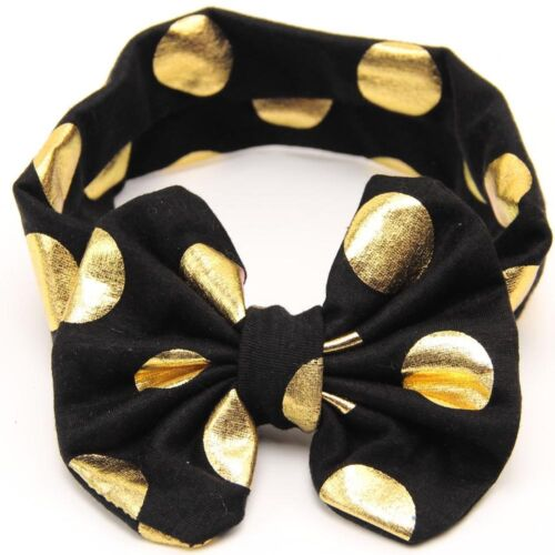 Baby Toddler Girls Glittery Gold Polka Dots Big Bowknot Headband Hair Head Band