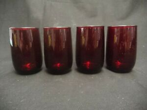 VINTAGE-SET-OF-4-ANCHOR-HOCKING-RUBY-RED-GLASS-ROLY-POLY-JUICE-4-OUNCE-GLASSES