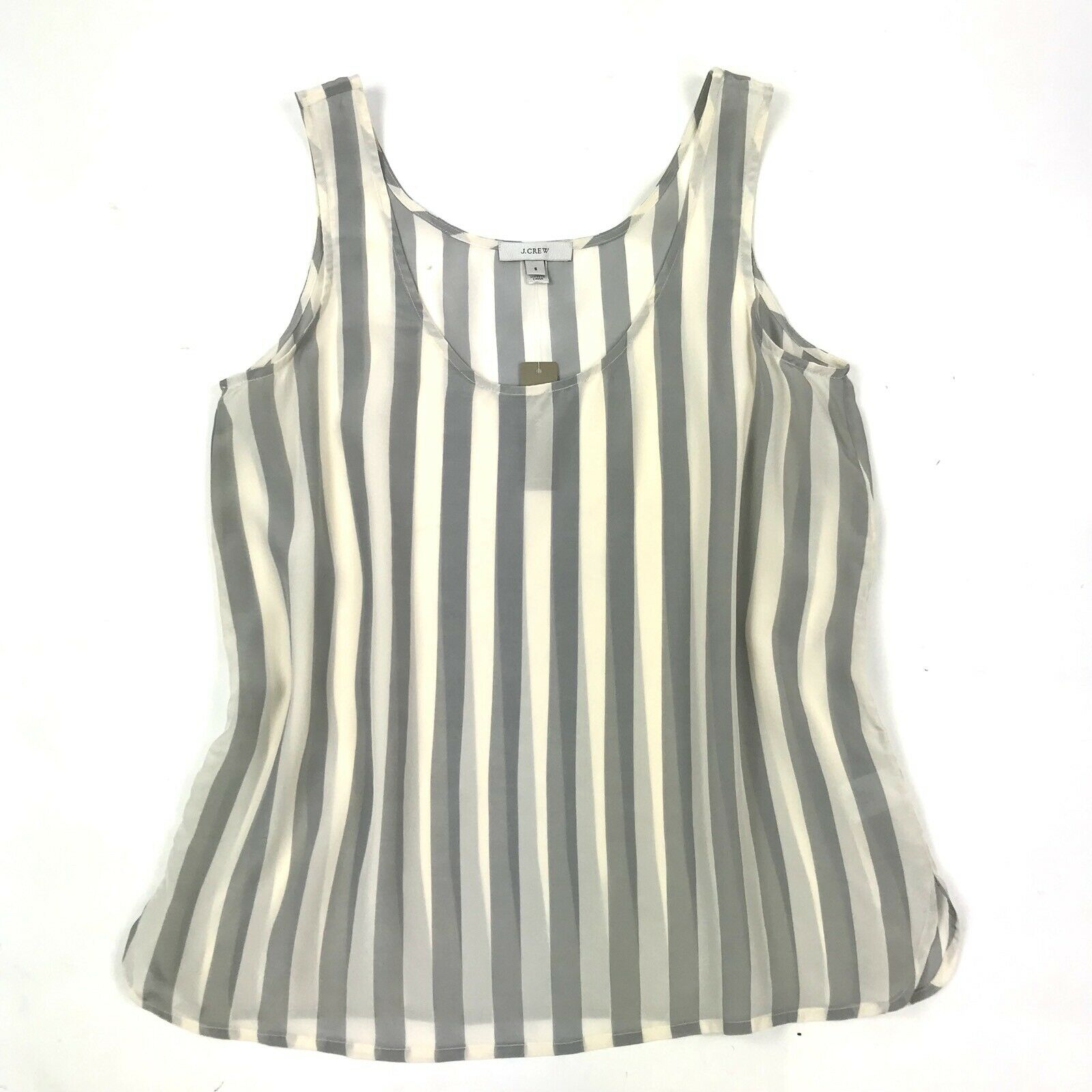 NWT J. Crew Women's Grey White Stripe Silk Sleeveless Semi Sheer Tank Top Sz S