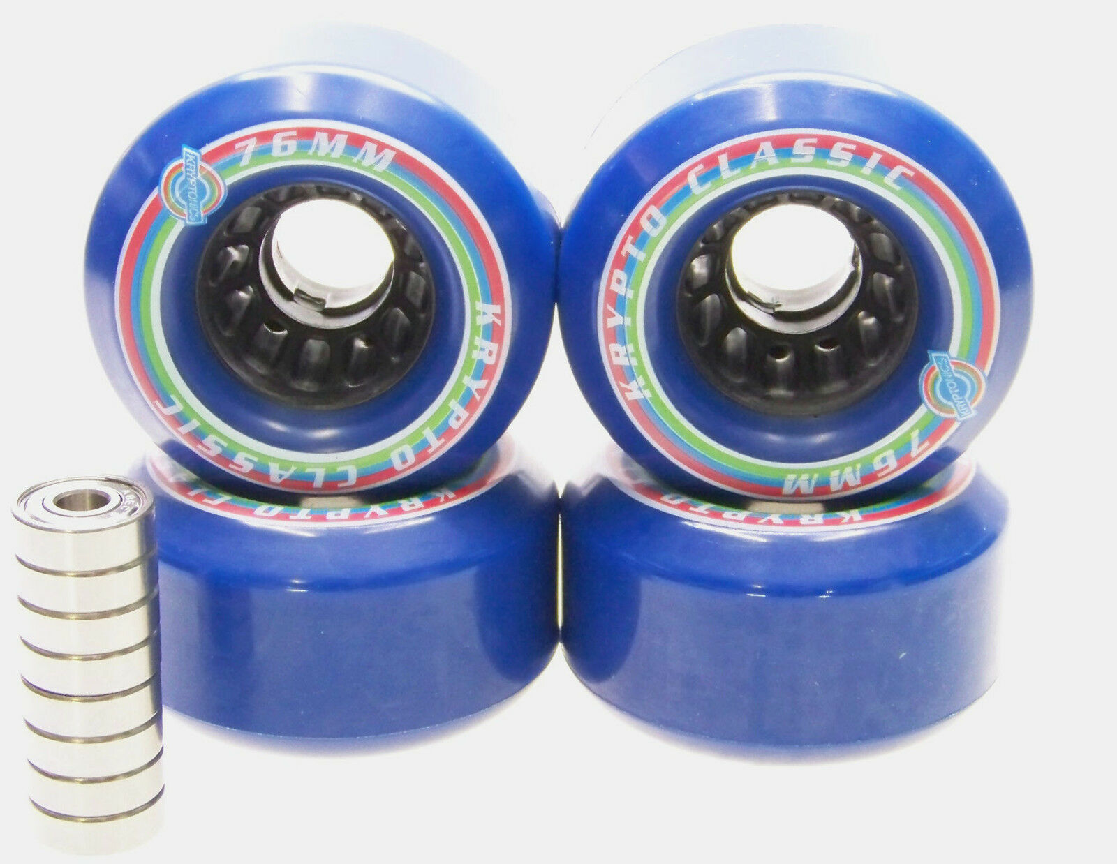 Longboard Rollers Kryptonics Classic 76mm  80A ABEC Bearing Set Replacement blueE