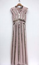 French Connection Gold Sequin Stripe Cocktail Fishtail Maxi Party Dress 10 38