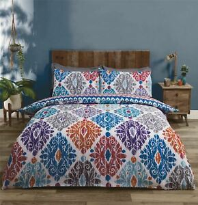MOROCCAN-STYLE GEOMETRIC TEAL COTTON BLEND DOUBLE DUVET COVER