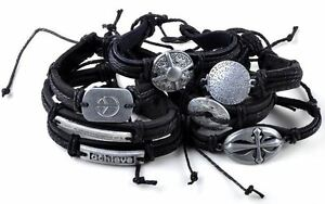 5pcs-Tribal-Men-039-s-Alloy-leather-bracelet-cuff-JEWELRY-JOB-LOTS-WHOLESALE-bulk
