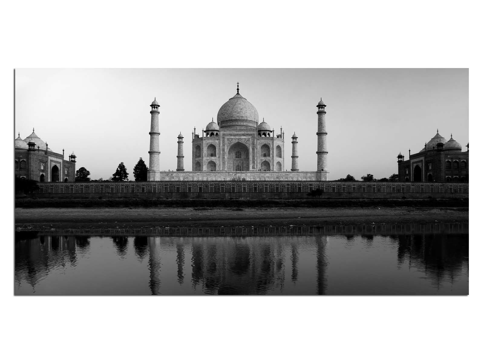 Deco Glass Picture EG4100501080 INDIA PALACE b w Größe 39,37  x 19,68  HD Print L