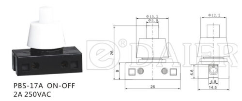 Weiß Druckschalter für Lampen 250V 2A  Schwarz