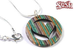 RECYCLED SKATEBOARD Small Heart Necklace Wooden Love Pendant Handmade Womens