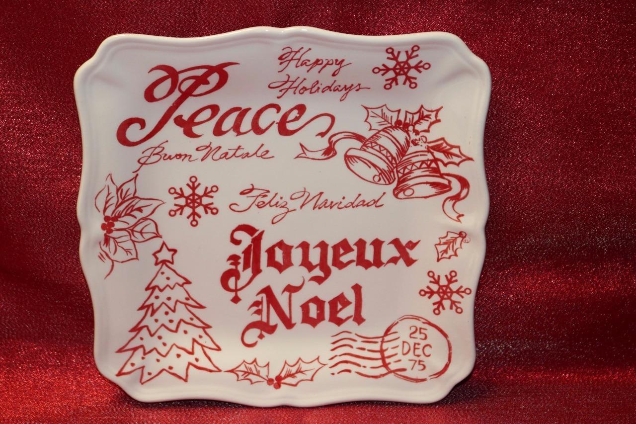 MAXCERA MERRY CHRISTMAS FELIZ NAVIDAD BUON NATALE NOEL SALAD PLATES - S 4