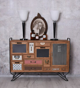 Vintage-Kommode-Art-Deco-Anrichte-Wohnzimmerschrank-Loft-Studio-Sideboard-Antik