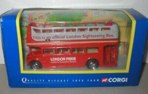 Londra-strada-principale-Rosso-Aperto-condita-Tour-Bus-con-piattaforma-POSTERIORE-1-76-Corgi-NUOVO