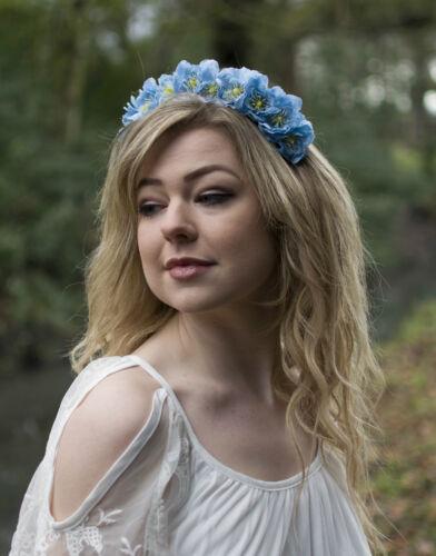 Light Sky Blue Wildflower Flower Hair Crown Headband Garland Festival Boho V06