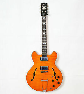 2019 big sale grote electric guitar in yellow binding semi hollow free shipping ebay. Black Bedroom Furniture Sets. Home Design Ideas