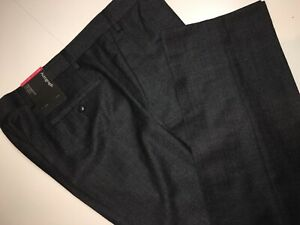 M/&S Luxury Grey Textured Regular Fit Wool Trousers PRP £84