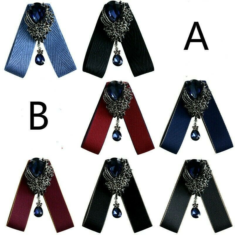 Lady Girl Clip On Neck Bow Tie Ribbon Rhinestone Pendant Shirt Accessories Retro