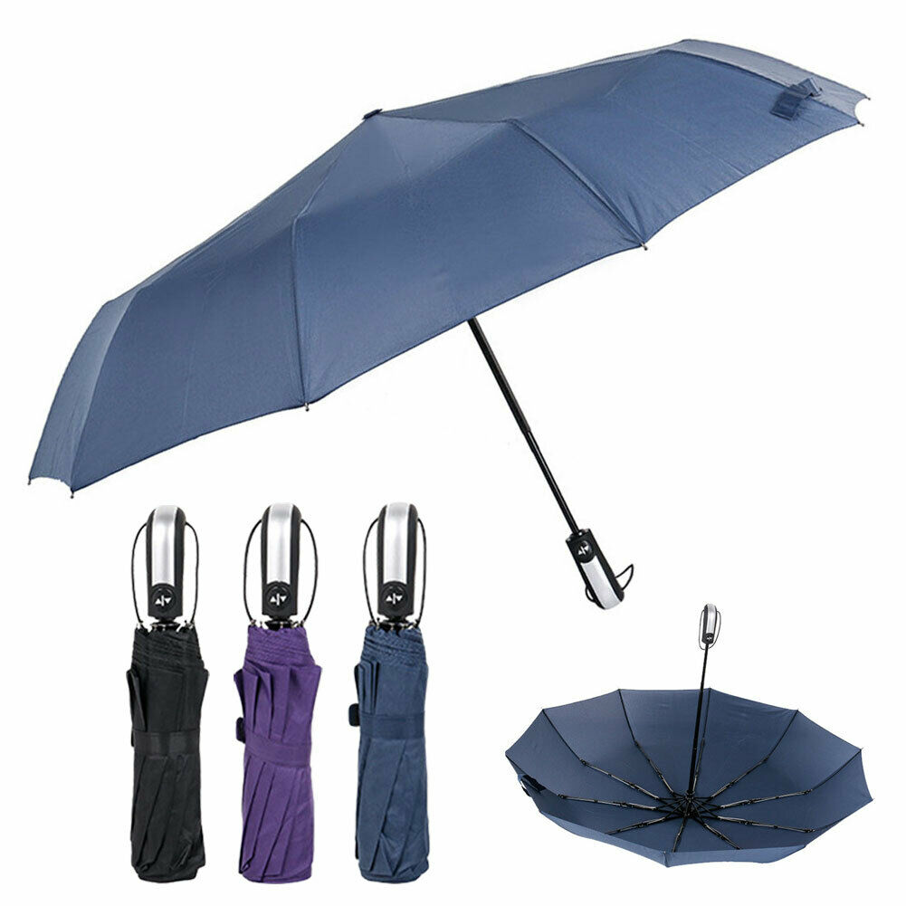 10Ribs Strong Windproof Umbrella Automatic Open/Close Compact Folding Travel UK