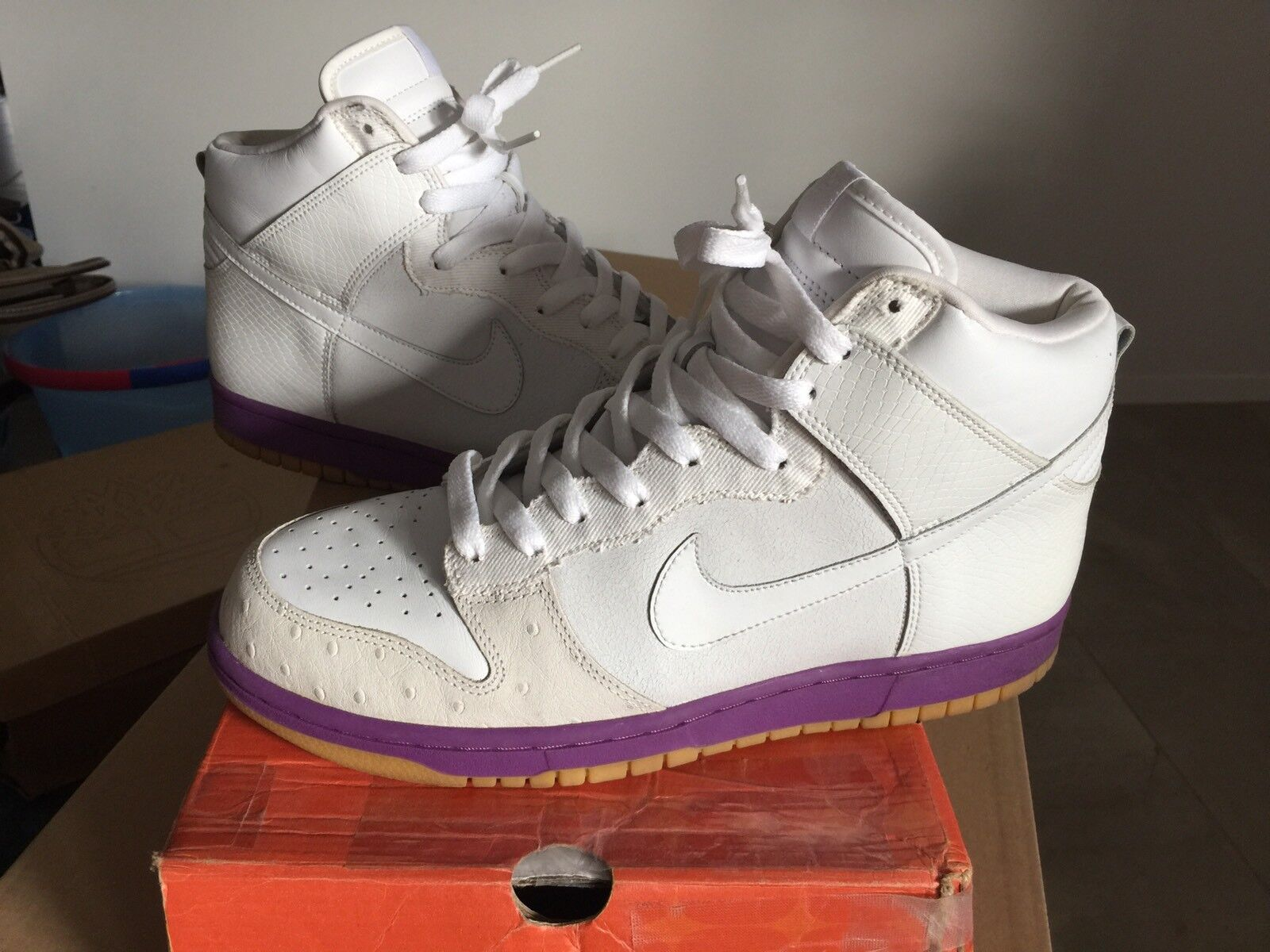 Nike Dunk High MITA Japan Purple White Gum 10 Black Ostrich Denim Snake