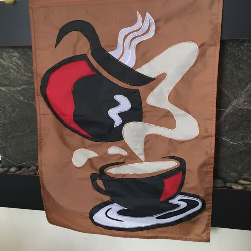 Details about  /Coffee Wall Haning Banner and Pole Sign 39 x 28 Brown Large Graphic