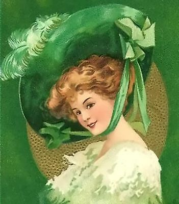 Lady In Green Hat~counted cross stitch pattern #998~Vintage Ladies Graph Chart