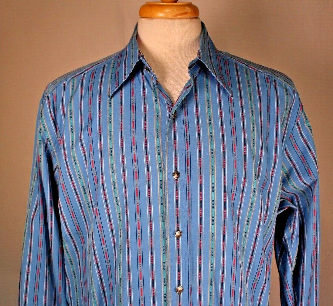 Robert Graham Mens bluee Abstract Striped Button Front Flip Cuff Shirt XL (Tight)