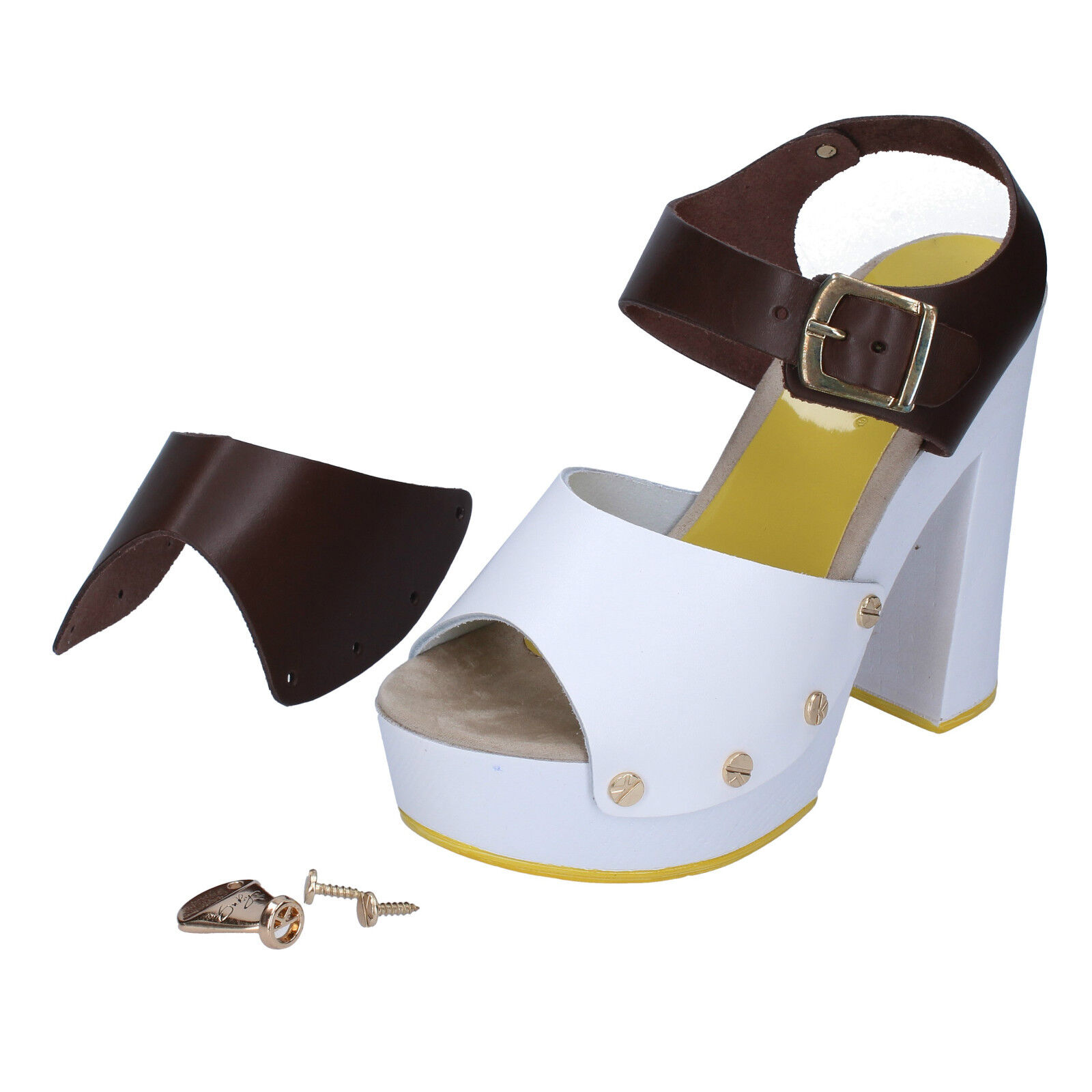 Womens shoes Suky Brand 38 EU Sandals White Brown Leather AC486-38