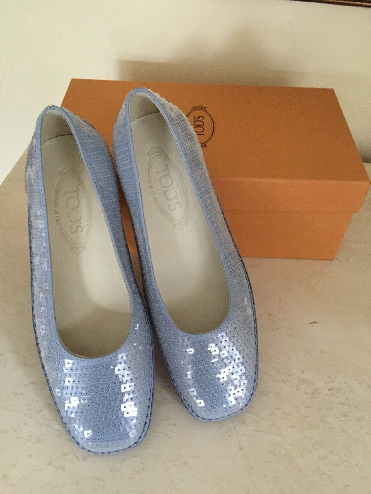 TOD'S Women's bluee Sequin and Leather shoes Ballerina Flat Size 7.5 with box EUC