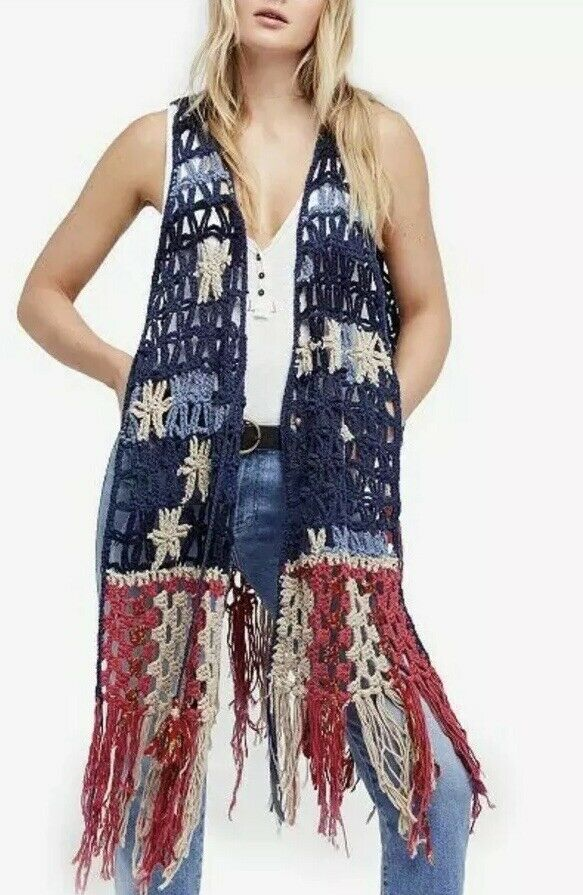 New Free People American Dreaming Vest - Crochet Fringe Sweater Sz XS   Small