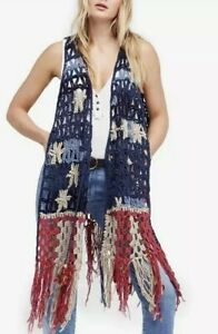 New-Free-People-American-Dreaming-Vest-Crochet-Fringe-Sweater-Sz-XS-Small