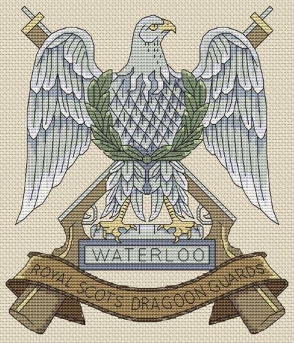 "Royal Dragoon Guardie Scozzesi BADGE Cross Stitch design 7x8/"",18x20cm, KIT o grafico"