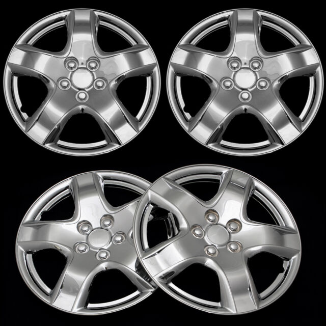 "4 Pc Set of 15"" Inch Chrome Hub Caps Full Lug Skin Rim Cover for OEM Steel Wheel"