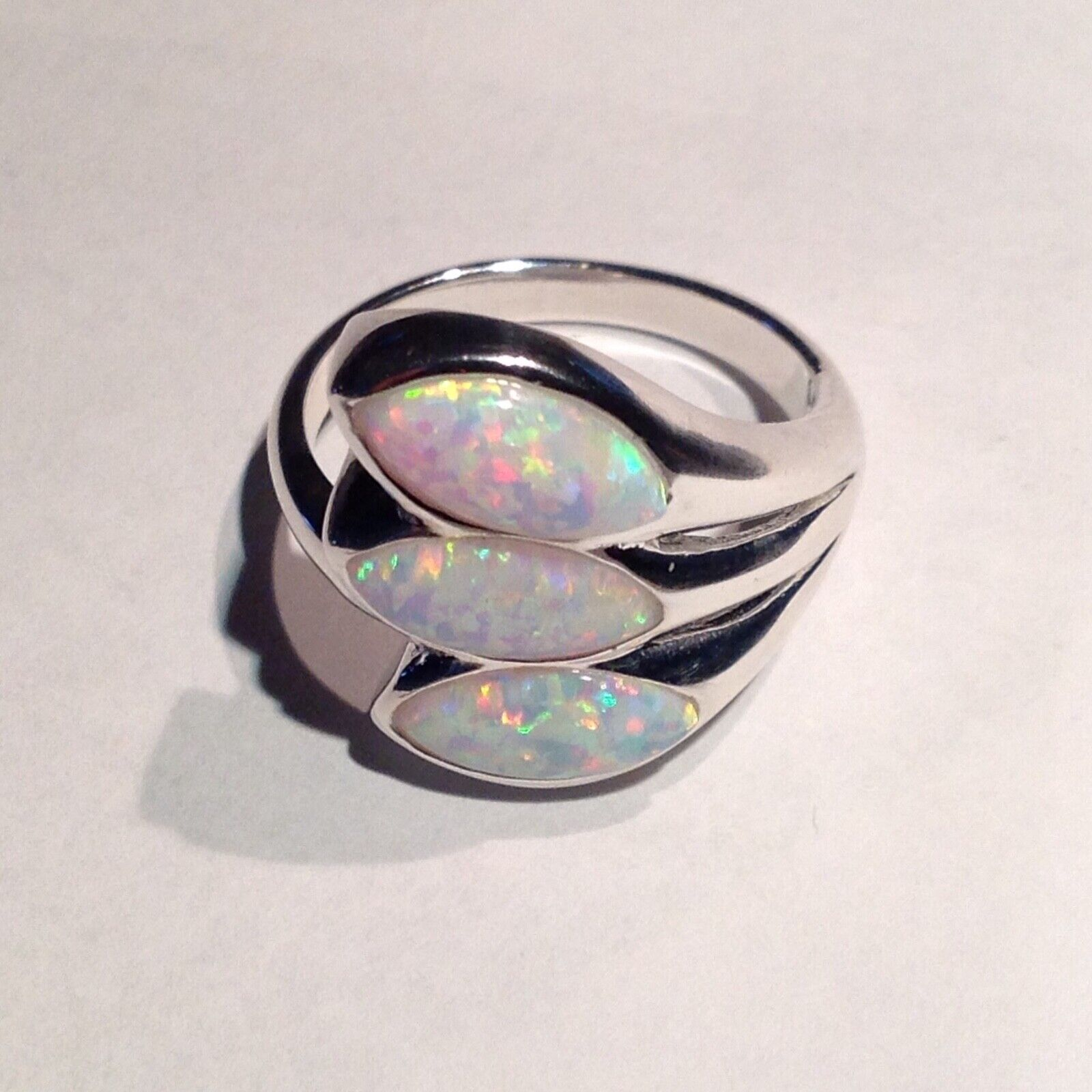 Lovely Fire Opal marquise Openwork cocktail Ring Sterling Silver Size 7