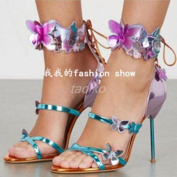 Zapatos De De De Fiesta mujeres Altas Tacón Stiletto Club nocturno mariposa y correa en el tobillo Sandalias Talla  El ultimo 2018