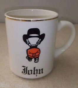 VTG-Burbank-Mug-Shop-Coffee-mug-JOHN-Gold-Rim-Man-In-Hat