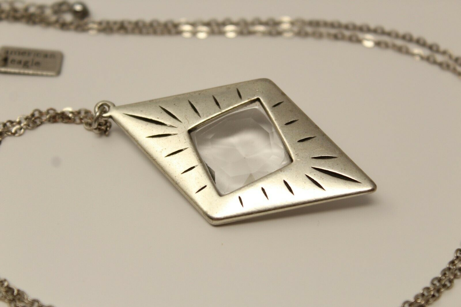 Gorgeous American Eagle Silvertone Clear Faceted Diamond-Shaped 28-30
