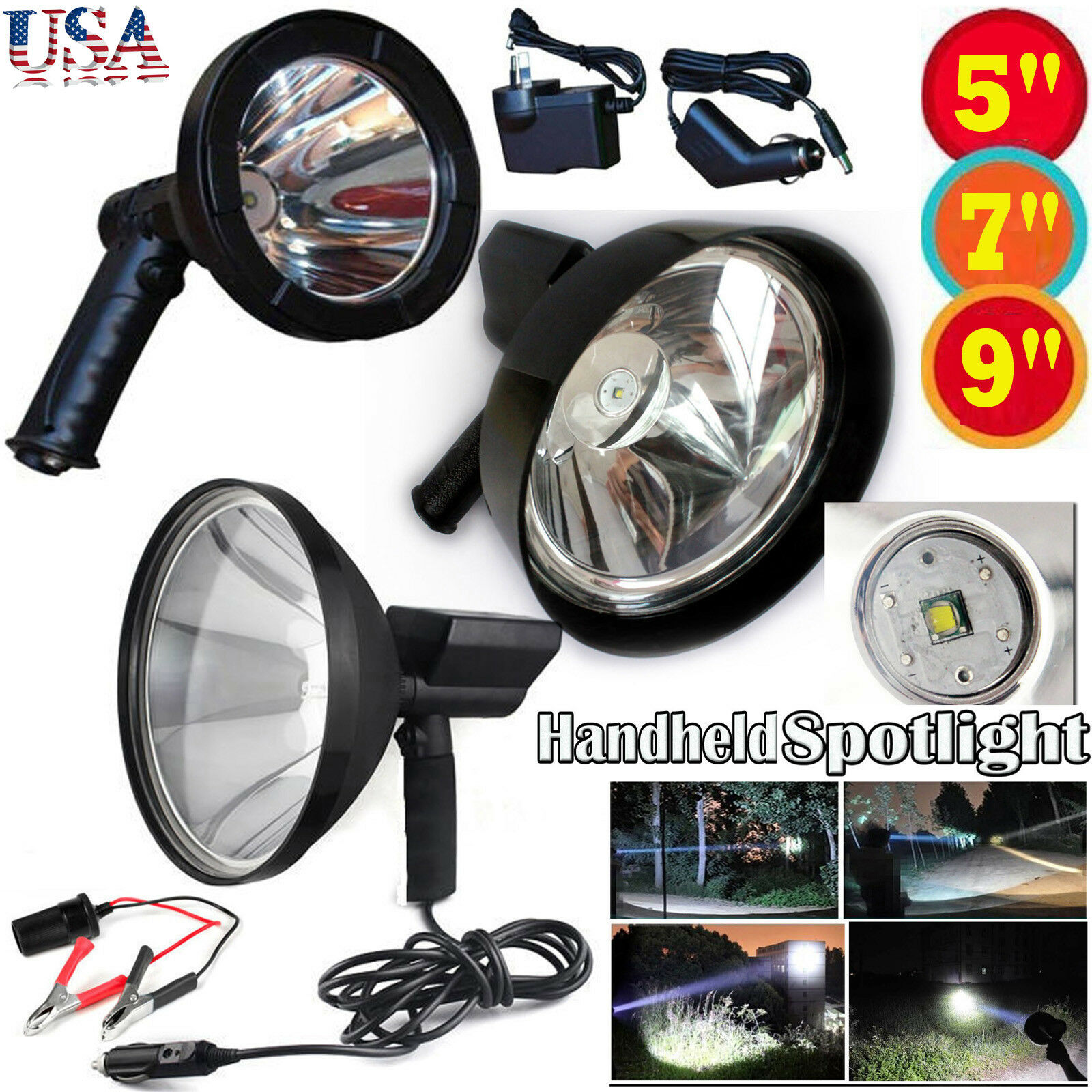 LED 50000Lumen 500W Rechargeable Spotlight Hunting Hand Held Torch Spot Light