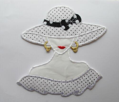 "#2881LW 6-1//4/""x6-3//4/"" Fashion Lady w//White Dress,Big Bowknot Hat Applique Patch"