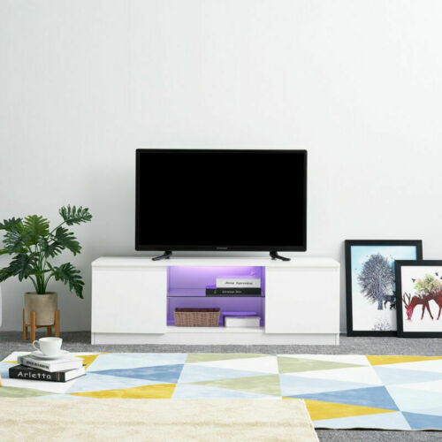 120CM White High Gloss Matte TV Stand Unit Cabinet RGB LED Lights Remote Conrol
