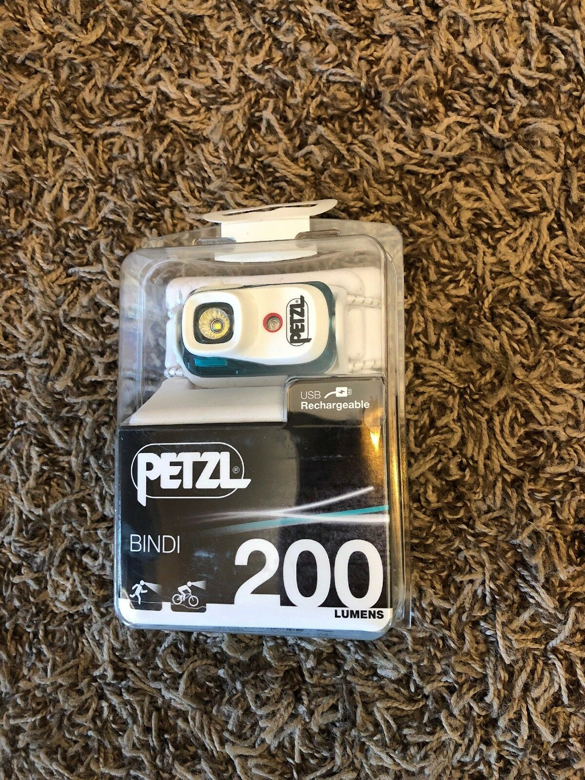 Petzl Bindi Active Headlamp 200 Lumens bluee USB Rechargeable Brand New