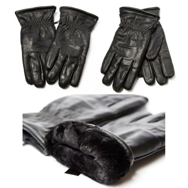 Unisex Thick Faux Leather Winter Gloves w/ Fur Warm Men Women Black Motorcycle