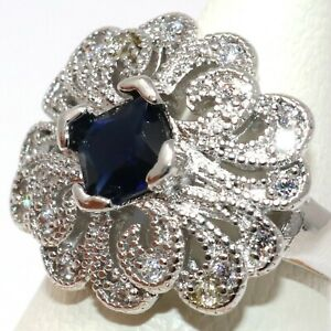 Large-1CT-Blue-Sapphire-Ring-Women-Engagement-Jewelry-White-Gold-Plated-Size-7