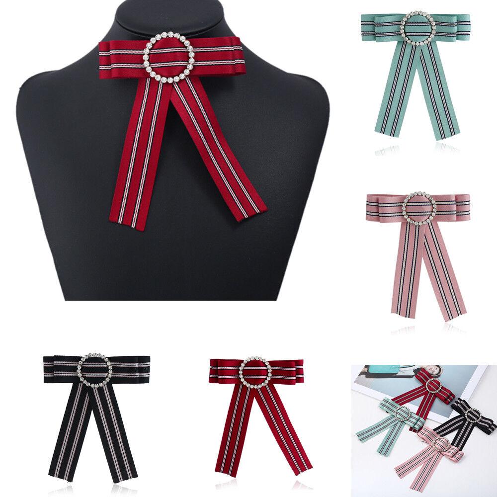 Fashion Unique Women Crystal Decor Satin Party Banquet Adjustable Bow Necktie