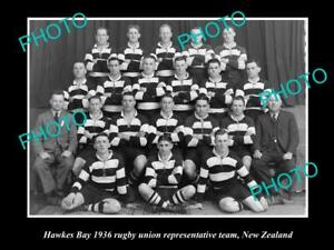 OLD-8x6-HISTORIC-PHOTO-OF-HAWKES-BAY-RUGBY-UNION-TEAM-1936-NEW-ZEALAND