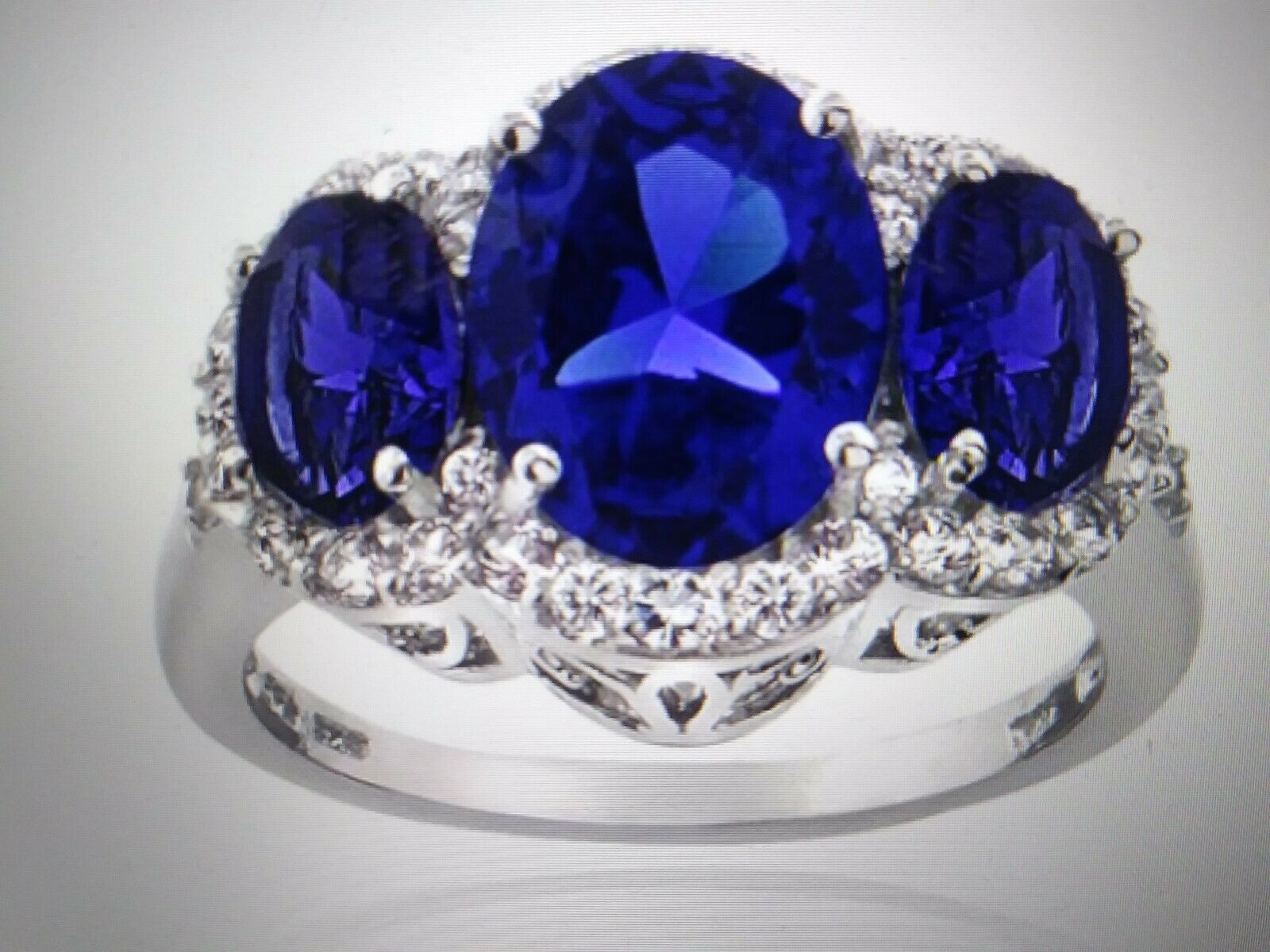 PLATINUM & SS 3 STONE blueE SAPPHIRE DIAMOND ENGAGEMENT WEDDING RING SZ 7 + GIFT