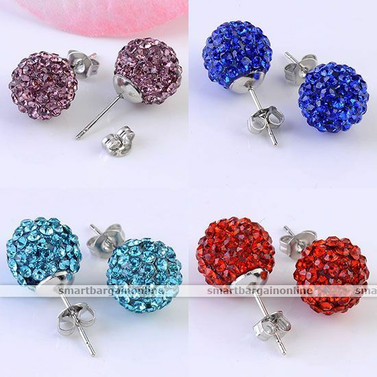 Pair Crystal Round Disco Ball Bead Earrings Ear Stud Women Jewellery Fashion Hot