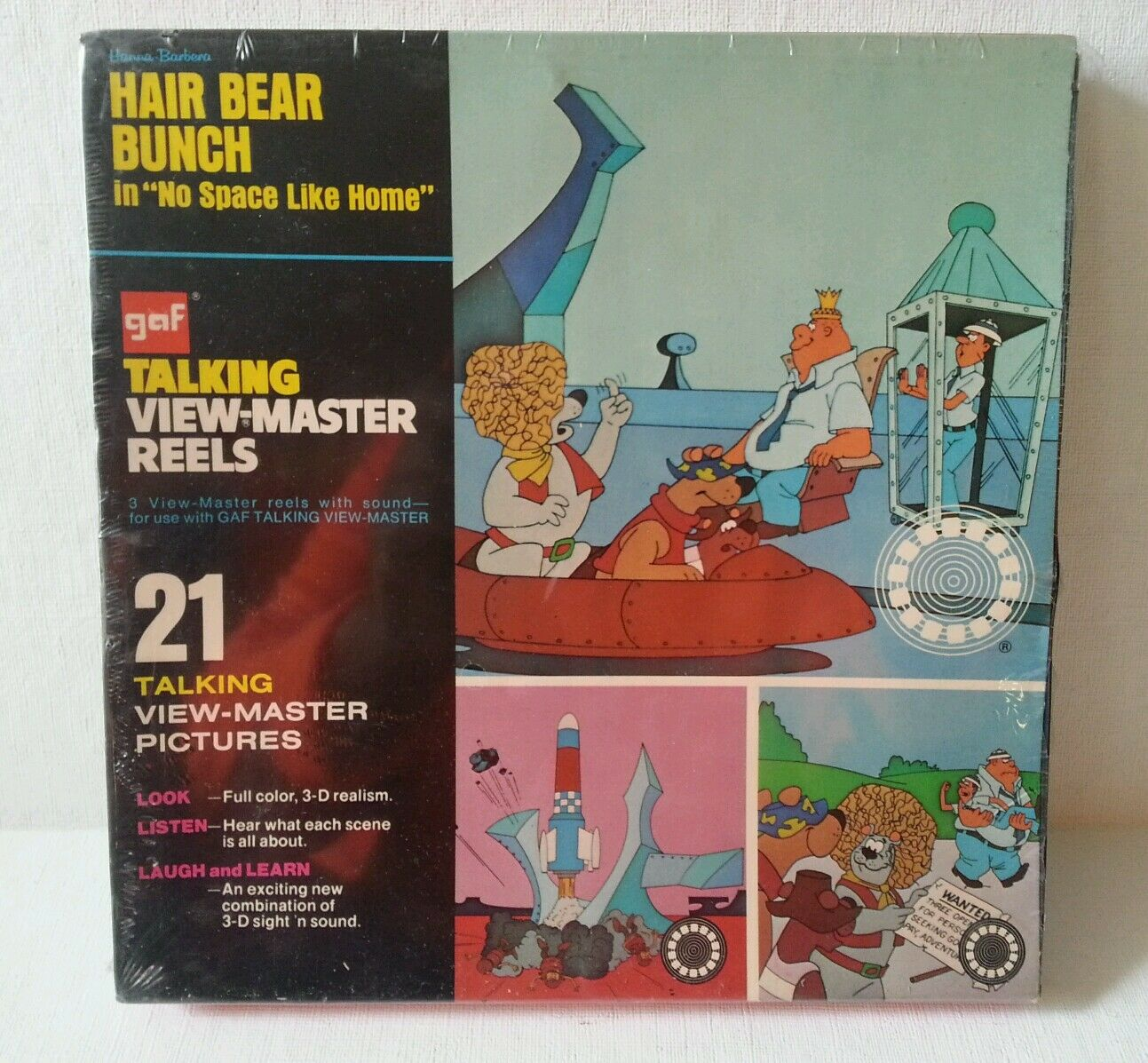Hår Bear Bunch 1972 Talking View Master Reels låda (Oöppnad) Mint Condition
