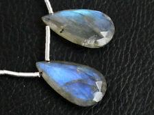 Natural Labradorite Blue Flash Faceted Pear Briolette Pair Beads (20075)